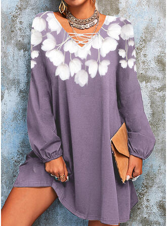 Floral Knit Long Sleeves Lantern Sleeve Above Knee Casual Dresses