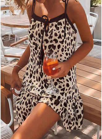 Leopard/Lace-up Sleeveless Shift Above Knee Casual/Vacation Slip Dresses