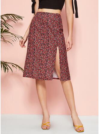 Polyester Print Knee Length A-Line Skirts