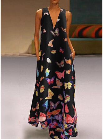 Animal Print Sleeveless Shift Casual/Vacation Maxi Dresses