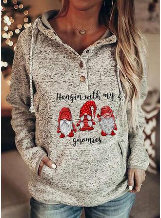 Print Pockets Letter Long Sleeves Christmas Sweatshirt