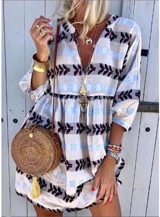 Floral Stripe V-Neck Bohemian Vintage Plus Size Cover-ups Swimsuits