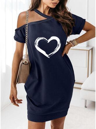 Print/Heart Short Sleeves Shift Above Knee Casual Dresses
