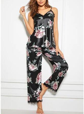 Spandex Lace Floral Halter Sexy V Neck Alluring Pyjama Set