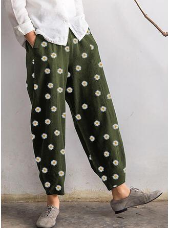 Floral Plus Size Cropped Boho Casual Pants
