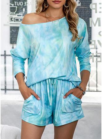 Polyester Round Neck Long Sleeves Tie Dye Pyjama Set