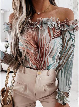 Print Off the Shoulder Long Sleeves Raglan Sleeve Elegant Blouses