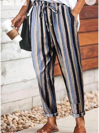 Striped Drawstring Long Casual Pants