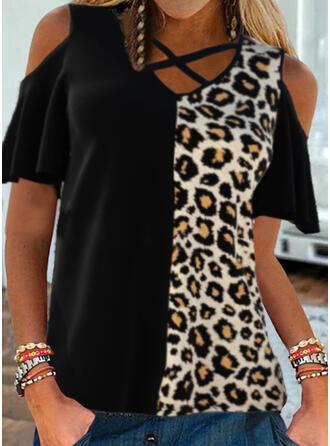 Leopard Cold Shoulder Short Sleeves Cold Shoulder Sleeve Casual Blouses
