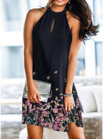 Print/Floral Sleeveless Shift Knee Length Elegant Dresses