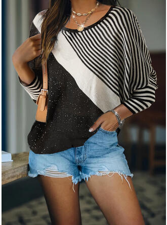 Geometric Sequins Round Neck Casual Sweaters