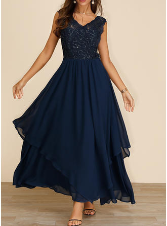 Lace/Sequins/Solid Sleeveless A-line Skater Party/Elegant Maxi Dresses