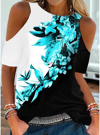 Color Block Floral Print Cold Shoulder Short Sleeves Tank Tops