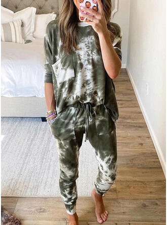Pockets Tie Dye Drawstring Casual Sporty Suits