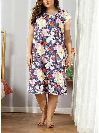 Polyester Floral Plus Size Round Neck Short Sleeves Alluring Pyjama Set