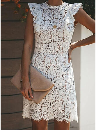Lace/Solid Sleeveless Sheath Above Knee Casual/Vacation Dresses
