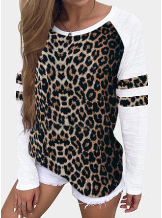Patchwork Leopard Round Neck Long Sleeves Casual T-shirts