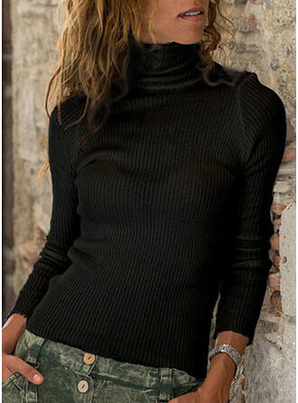 Solid Plain Turtleneck Sweaters