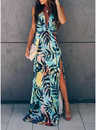 Print Sleeveless A-line Party/Vacation Maxi Dresses
