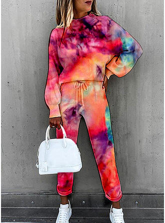 Tie Dye Long Casual Sporty Drawstring Suits