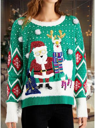 Women's Print Santa Reindeer Ugly Christmas Sweater