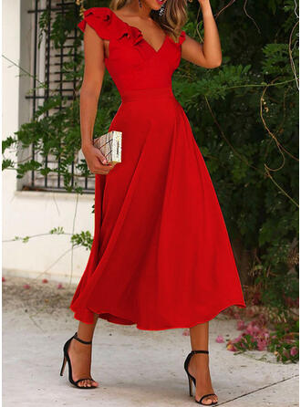 Solid Short Sleeves Small Flying Sleeve A-line Skater Party/Elegant Midi Dresses