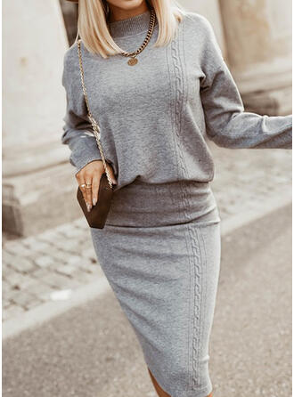 Solid Stand Collar Casual Sweater Dress