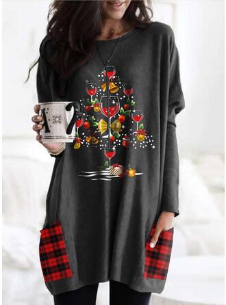 Print Grid Pockets Round Neck Long Sleeves Christmas Sweatshirt