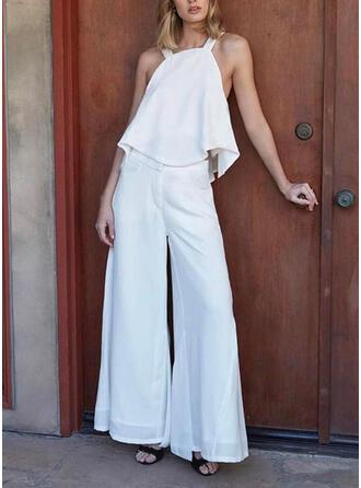 Solid Strap Sleeveless Casual Elegant Jumpsuit