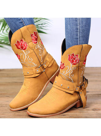 Women's Microfiber Chunky Heel With Embroidery shoes
