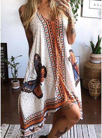 Animal Print Sleeveless Shift Casual/Vacation Midi Dresses
