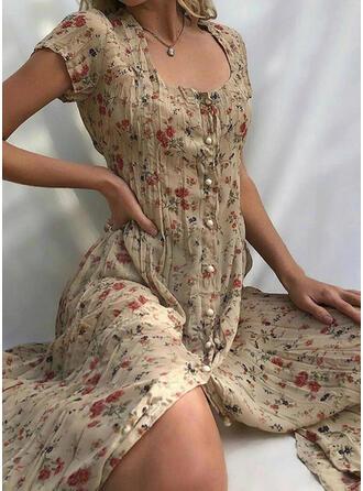 Print/Floral Short Sleeves Sheath Casual/Vacation Midi Dresses