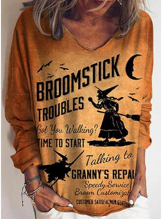 Print Figure V-Neck Long Sleeves Casual Halloween T-shirts