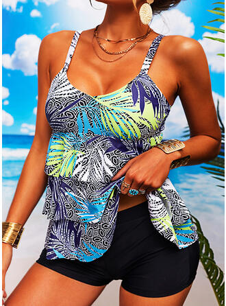 Tropical Print Strap V-Neck Vintage Tankinis Swimsuits