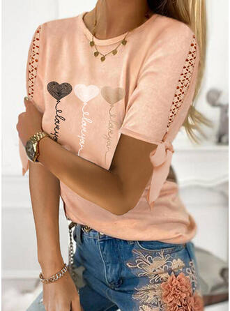 Print Lace Heart Letter Round Neck Short Sleeves Casual Blouses