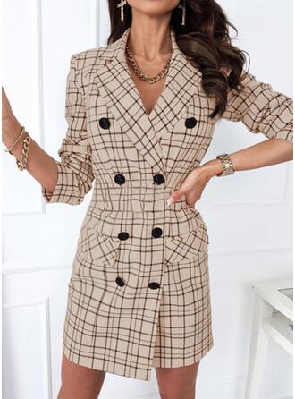 Print/Plaid Long Sleeves Sheath Above Knee Elegant/Office/Business Dresses