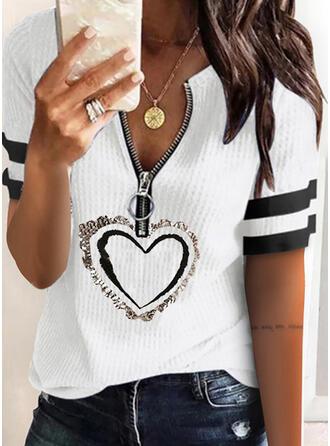 Print Heart V-Neck Short Sleeves Casual Knit Blouses