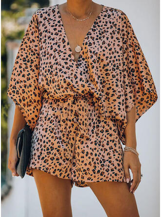 Print V-Neck 3/4 Sleeves Batwing Sleeves Casual Vacation Romper
