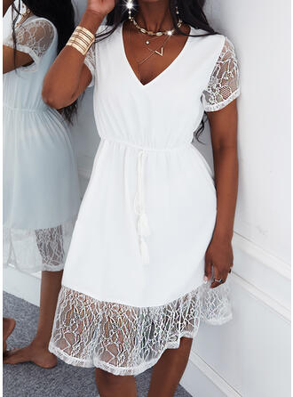 Solid Lace Short Sleeves A-line Knee Length Casual Skater Dresses
