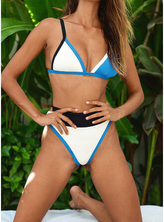 Patchwork Strap V-Neck Sexy Classic Cute Bikinis Swimsuits