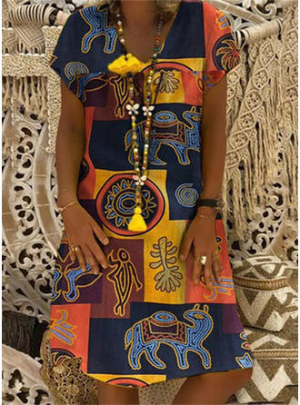 Print/Patchwork Short Sleeves Shift Knee Length Casual/Boho/Vacation Dresses