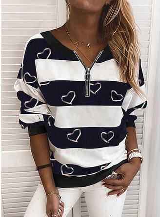 Print Color Block Heart V-Neck Long Sleeves Sweatshirt