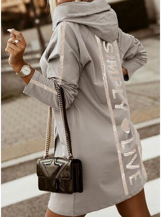 Print/Heart/Letter Long Sleeves Raglan Sleeve Shift Above Knee Casual Sweatshirt Dresses