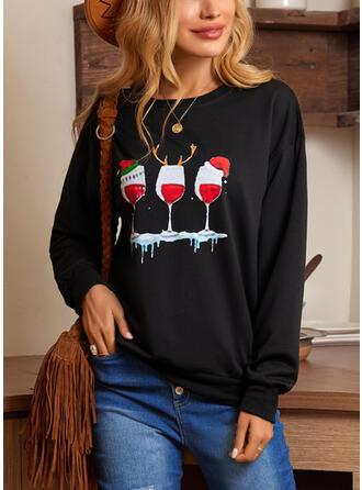 Christmas Print Round Neck Long Sleeves Sweatshirt
