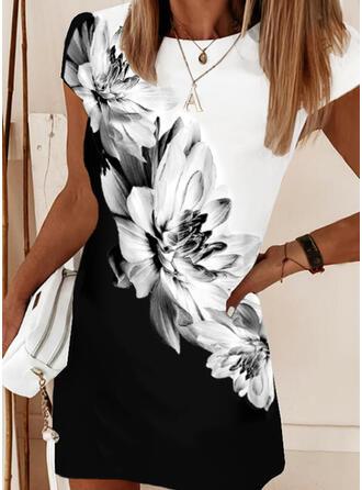 Print/Floral/Color Block Short Sleeves Shift Above Knee Casual/Elegant T-shirt Dresses