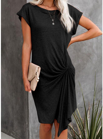 Solid Short Sleeves Bodycon Knee Length Little Black/Casual Dresses