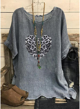 Leopard Heart Sequins Round Neck Short Sleeves T-shirts
