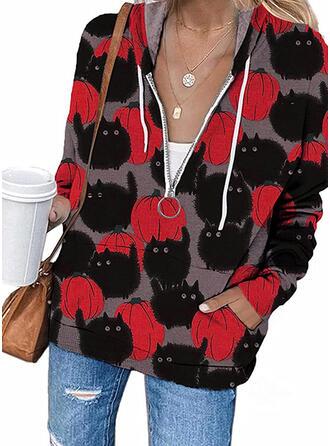 Halloween Print Hooded Long Sleeves Hoodie