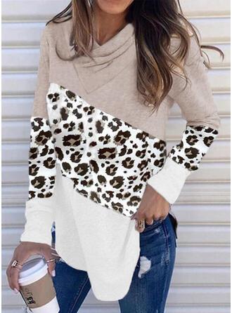 Print Color Block Leopard V-Neck Long Sleeves Sweatshirt
