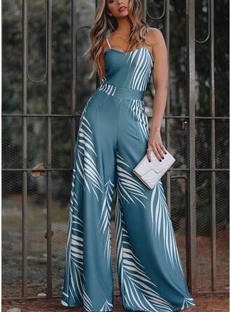 Print Spaghetti Strap Sleeveless Casual Jumpsuit